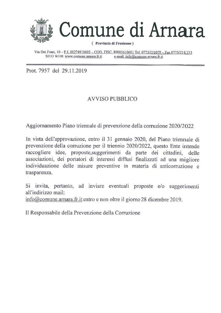 Aggiornamento Piano triennale di prevenzione della corruzione 2020/2022.